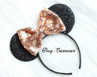 Rose Gold Bow Mouse Ears. Mouse Headband. Womens Headband. Teen Headband. Mouse Ears Headband. Disney Headband. One Size Fits Most