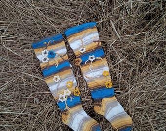 Long socks with flower, flower socks, colorful knitted socks, hand knitted home socks, colorful leg warmer