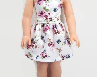 14.5 Inch Doll Clothes - Beautiful White and Mauve Floral Sleeveless Sundress - Made to Fit Dolls Like Wellie Wisher Doll Clothes