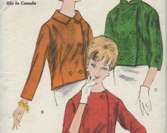 Vintage 1960's Jacket Sewing Pattern Vogue 5691 Blazer, Cropped Jacket, 1960s Coat, Petite