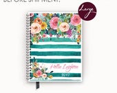 2017 2018 Large Personalized Planner with Watercolor Floral on Teal Stripes Cover