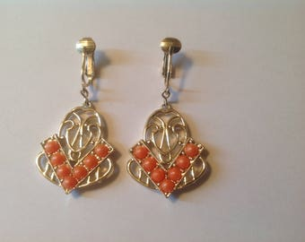 Vintage Sarah Coventry Clip-on Earrings Orange Gold tone