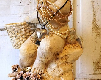 Distressed cherub putti statue w/ bird shabby cottage chic large angelic figure embellished pearls home decor anita spero design