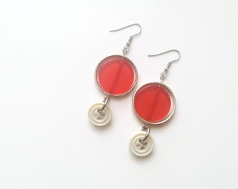 50% OFF - Light red earrings - Recycled button jewelry resin metal - Dangle earrings - Colorful earrings - Made in Canada - Mlle Bouton