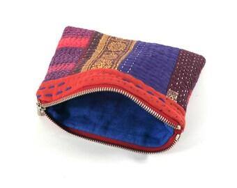 kantha quilt patchwork makeup jewelry bag purse