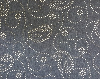 Denim with silver accent paisley design