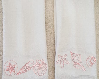 Embroidered Hand Towel or Dish Towel  - Toile Seashells - set of two