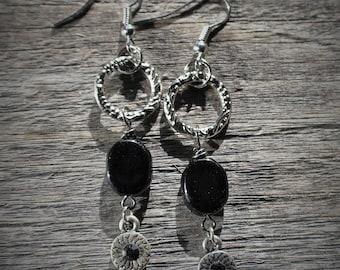Free Shipping on Silver/Black Dangle Earrings