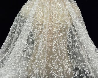Light Ivory Fabric, Light Ivory Lace, Bridal Lace, Embroidered Lace, Lace Embroidery, Beaded Lace, Lace Fabric, Beaded Embroidery, (C8)