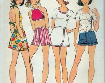 Vintage 1973 Simplicity 5687 Retro Junior Pullover Top, Halter-Top, Front Wrap Short Skirt and Shorts Sewing Pattern Size 13/14 Bust 33 1/2""