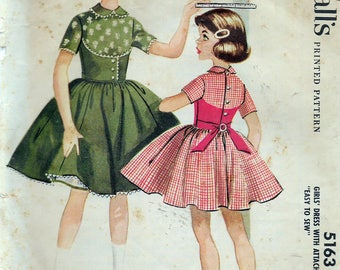 """Vintage 1959 McCall's 5163 Helen Lee Girls' Dress With Attached Petticoat Sewing Pattern Size 4 Breast 23"""""""
