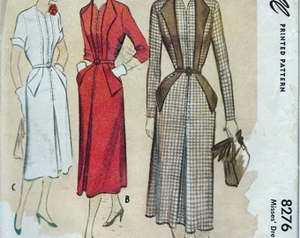 Vintage 1950 McCall 8276 Misses Dress Sewing Pattern Size 16 Bust 34""