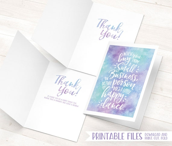 Small business cards printable thank you cards etsy seller cards il570xn reheart Image collections