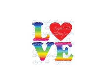 Rainbow Love Digital File Clip Art PNG SVG JPG Pdf Rainbow Letters with Red Heart