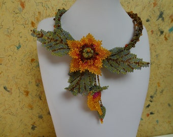 Off Set Orange and Hot Pink Flower, Leaves and Buds, Old Growth Browns to Fresh New Growth Greens Stem Cord, Life Sized, Bead Woven Necklace