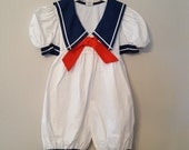 Vintage Girls White Sailor Suit Romper with Navy Collar and Red Tie- Size 4t- New, never worn