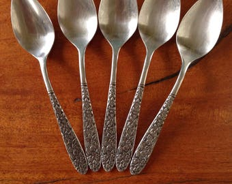 Narcissus Teaspoons by National Set of 5 MCM Stainless Spoons, Floral Flower Flatware, Mid Century Modern Stainless Steel 5 Spoon Set