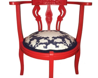 Antique Asian Inspired Upholstered Corner Chair Painted Red