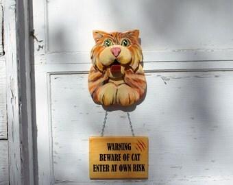 Beware of Cat Sign, House Cat Decor, Cat Sign,  Animal Lover Gift, Cat Lover Gift