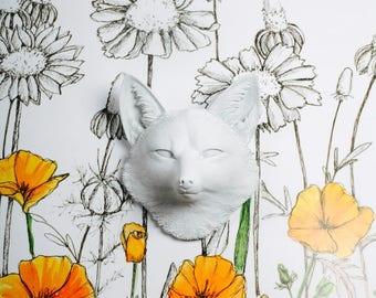 The Sylvester - White Faux Fox Head - Fox Nursery Decor - Fox Art - Fox Decor - Faux Taxidermy - Woodland Nursery Decor - Farmhouse Decor