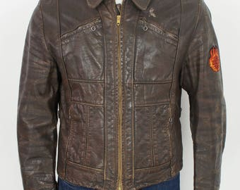 Vintage 50's/60's Leather Motorcycle Jacket Harley Davidson Patches size Medium