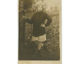 Vintage Snapshot Photo RPPC: Young Girl with Attitude, Poise c1910s (612525)