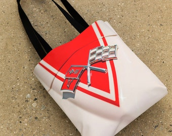 Corvette Tote Bag, Corvette Gift,  Route 66 Tote Bag, Corvette Flags, Car Show Purse, Chevrolet, Vette, Gift for Car Lover