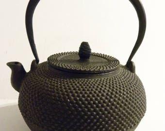 Vintage Cast Iron Tea Pot Japan Tetsubin Hobnail Design Tea Kettle