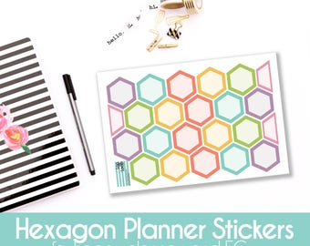 Planner Stickers - 23 Blank Hexagon for MAMBI Happy Planners or Erin Condren Life Planner