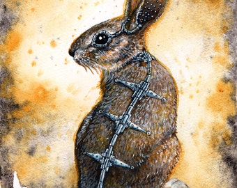 Arcane Transmissions: Fine Art Watercolour Steampunk Bunny Print