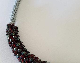 "Kumihimo with ""dragon scale"" beads"