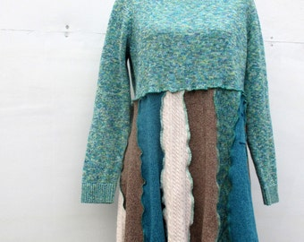 Women's Apparel - Recycled Clothing - Handmade Clothes - Everyday Wear - Turquoise Teal - XL 1X - Cotton Tunic Top - Ecofriendly Clothes