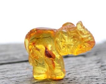 Amber Elephant Carving - Handmade Amber Statuette - Genuine Baltic Amber