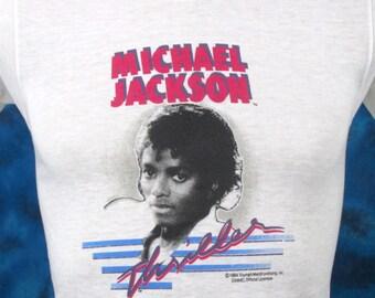 XXS*** vintage 80s MICHAEL JACKSON Thriller Tour Paper Thin T-Shirt rock pop concert soft 1980s nos deadstock