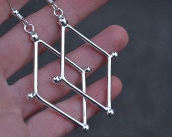 Geometric Earrings, Diamond Shape, Geometric, Sterling Silver, Classic Earrings, Geometric jewelry, Classic Jewelry, Sterling Silver, Silver