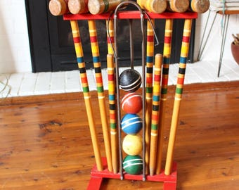 Vintage Croquet Set on stand, Lawn Games, Wedding Prop