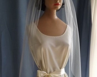 "Elbow Waist 28in Lengths Plain Edge Wedding Veil 54"" Wide - One Tier Veil - Bridal Veil - Ivory, Diamond White, White"