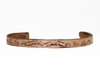 Copper Cuff Bracelet - Rainfall & Sunrise