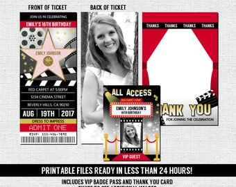 Hollywood Ticket Invitation Red Carpet Birthday Movie Party + Thank You Card + VIP Pass Badge Insert (print your own) Printable Files