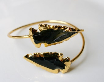 Gold Dipped Black Obsidian Arrowhead Bracelet Bangle