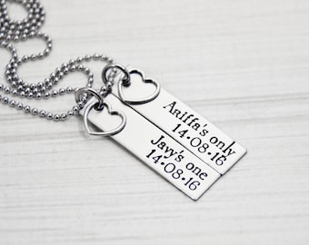 Her One, His Only - The Original with DATE AND NAMES - Couples Jewelry - Hand Stamped Stainless Steel Necklace Set - Sterling Heart Charm