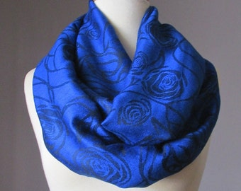 Cobalt scarf, rose scarf, blue scarf,  pashmina infinity scarf, Perfect gift for her