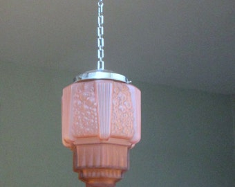 French Art Deco LARGE SKYSCRAPER Hanging Light Fixture 1930s - Rich Sculptured Details - Gorgeous Pink - Great Condition - French Art Deco