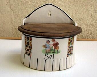 CHILDREN & DOG - Vintage French Ceramic Salt Box- Wooden Lid- Antique Salt box -Vintage Kitchenalia- Hangs on wall - Great for Change - Keys