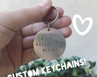 Custom Handstamped Keychain, Tassel Option