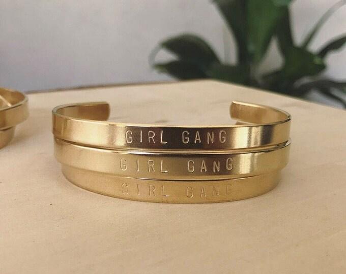Girl Gang Handstamped Cuff Bracelet
