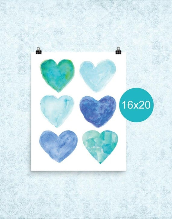 Turquoise Watercolor Hearts Poster, 16x20, 12x16
