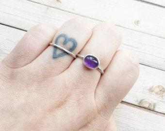 Handmade Amethyst Ring | Birthstone Ring | February Birthstone | Simple Amethyst Ring | Handmade Ring | Amethyst Jewelry | Stacking Ring |