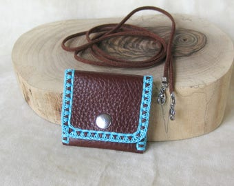 Little 5cm/2ins chocolate brown leather necklace Pouch - turquoise crochet border - snap fastener - removable cord - stainless steel clasps