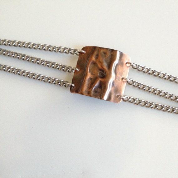 Fold formed copper metalwork chain bracelet